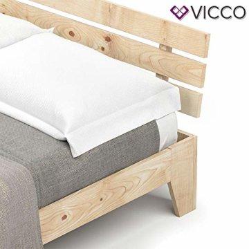 Vicco Holzbett Korfu Futonbett 140x200cm Kiefer Doppelbett Bettgestell Massivholz in weiß oder Natur lackiert (Naturlack) - 5