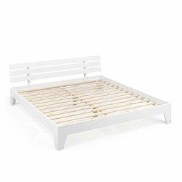 Vicco Holzbett Tilos Futonbett 180x200cm Kiefer Doppelbett Bett Massivholz Lack (Weiß) - 1