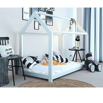 Vicco Kinderbett Kinderhaus Jugendbett Kinder Bett Holz Haus Schlafen Spielbett Hausbett - lackiertes Massivholz - kindgerechte Verarbeitung (Weiß, 90 x 200 cm) - 3