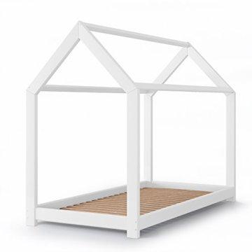 Vicco Kinderbett Kinderhaus Jugendbett Kinder Bett Holz Haus Schlafen Spielbett Hausbett - lackiertes Massivholz - kindgerechte Verarbeitung (Weiß, 90 x 200 cm) - 1