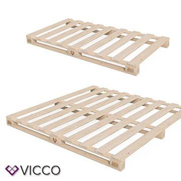 VICCO Palettenbett Bett Holz Massivholzbett 90 100 120 140 160 180 200 x 200cm, Palettenmöbel MADE IN GERMANY (90x200) - 3