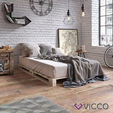 VICCO Palettenbett Bett Holz Massivholzbett 90 100 120 140 160 180 200 x 200cm, Palettenmöbel MADE IN GERMANY (90x200) - 6