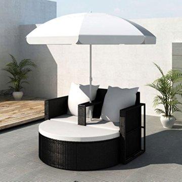 vidaXL Gartenlounge mit Sonnenschirm Poly Rattan Liege Sonnenliege Gartenmöbel - 2