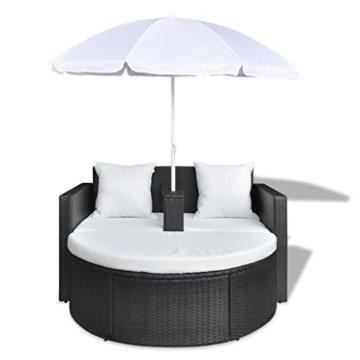 vidaXL Gartenlounge mit Sonnenschirm Poly Rattan Liege Sonnenliege Gartenmöbel - 3