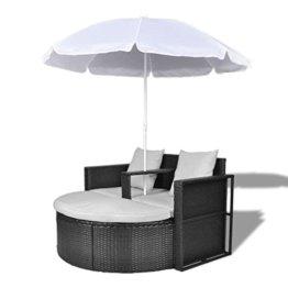 vidaXL Gartenlounge mit Sonnenschirm Poly Rattan Liege Sonnenliege Gartenmöbel - 1