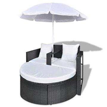 vidaXL Gartenlounge mit Sonnenschirm Poly Rattan Liege Sonnenliege Gartenmöbel - 4