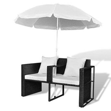vidaXL Gartenlounge mit Sonnenschirm Poly Rattan Liege Sonnenliege Gartenmöbel - 7