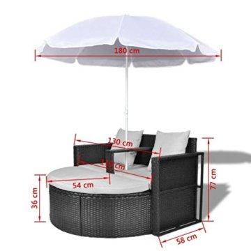 vidaXL Gartenlounge mit Sonnenschirm Poly Rattan Liege Sonnenliege Gartenmöbel - 8