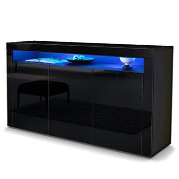 vladon sideboard kommode valencia korpus in schwarz. Black Bedroom Furniture Sets. Home Design Ideas