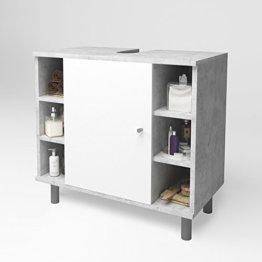 Waschtischunterschrank Badschrank Badezimmerschrank Waschbeckenunterschrank Unterstellschrank Beton/Weiß - 1