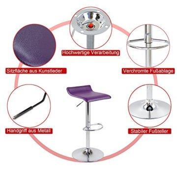WOLTU Barhocker Design Drehstuhl Hocker Barstuhl Lounge Bar Stuhl 2x Grau BH11gr - 4