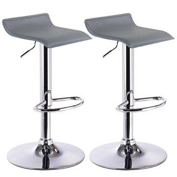 WOLTU Barhocker Design Drehstuhl Hocker Barstuhl Lounge Bar Stuhl 2x Grau BH11gr - 1