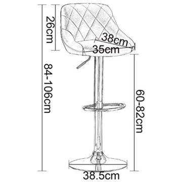 WOLTU Barhocker Tresenhocker mit Lehne, 2er Set, stufenlose Höhenverstellung, verchromter Stahl, Antirutschgummi, pflegeleichter Kunstleder, gut gepolsterte Sitzfläche, Farbwahl (BS9181 Weiß) - 3