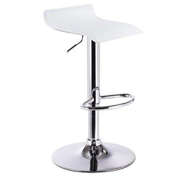WOLTU BH11ws-1 Design Hocker Barhocker, stufenlose Höhenverstellung, verchromter Stahl, Antirutschgummi, pflegeleichter Kunstleder, gut gepolsterte Sitzfläche, Weiss - 1