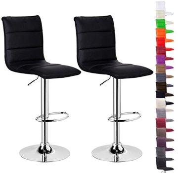 WOLTU BH15sz-2 Design Hocker mit Griff, 2er Set, stufenlose Höhenverstellung, verchromter Stahl, Antirutschgummi, Pflegeleichter Kunstleder, gut gepolsterte Sitzfläche, schwarz - 2