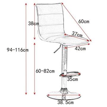WOLTU BH15sz-2 Design Hocker mit Griff, 2er Set, stufenlose Höhenverstellung, verchromter Stahl, Antirutschgummi, Pflegeleichter Kunstleder, gut gepolsterte Sitzfläche, schwarz - 3