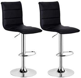 WOLTU BH15sz-2 Design Hocker mit Griff, 2er Set, stufenlose Höhenverstellung, verchromter Stahl, Antirutschgummi, Pflegeleichter Kunstleder, gut gepolsterte Sitzfläche, schwarz - 1