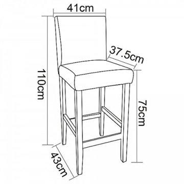WOLTU BH21gr-2 Barhocker Holz Bistrostuhl Bistrohocker mit Lehne, 2er Set, Massivholz, Antirutschgummi, Kunstleder, dick gepolsterte Sitzfläche, Grau - 7