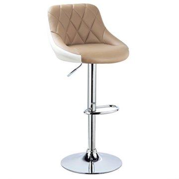 WOLTU BH30kk-2 Design 2 farbig Barhocker mit Griff, 2er Set, stufenlose Höhenverstellung, verchromter Stahl, Antirutschgummi, pflegeleichter Kunstleder, gut gepolsterte Sitzfläche, Khaki+Weiss - 4