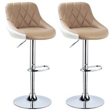WOLTU BH30kk-2 Design 2 farbig Barhocker mit Griff, 2er Set, stufenlose Höhenverstellung, verchromter Stahl, Antirutschgummi, pflegeleichter Kunstleder, gut gepolsterte Sitzfläche, Khaki+Weiss - 1