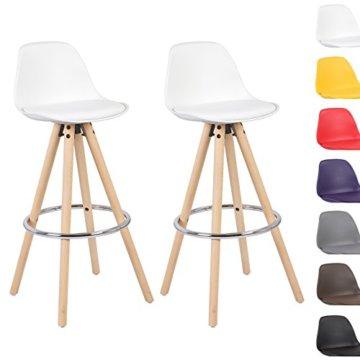 WOLTU® BH45ws-2 2 x Barhocker 2er Set Barstuhl aus Kunststoff Holzgestell mit Lehne + Fußstütze Design Stuhl Küchenstuhl optimal Komfort Weiss - 2