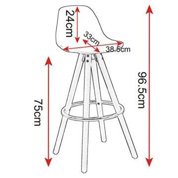 WOLTU® BH45ws-2 2 x Barhocker 2er Set Barstuhl aus Kunststoff Holzgestell mit Lehne + Fußstütze Design Stuhl Küchenstuhl optimal Komfort Weiss - 3