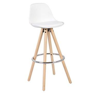 WOLTU® BH45ws-2 2 x Barhocker 2er Set Barstuhl aus Kunststoff Holzgestell mit Lehne + Fußstütze Design Stuhl Küchenstuhl optimal Komfort Weiss - 4