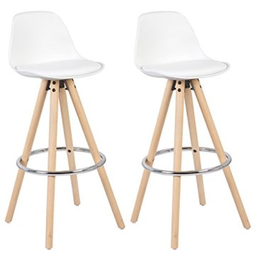 WOLTU® BH45ws-2 2 x Barhocker 2er Set Barstuhl aus Kunststoff Holzgestell mit Lehne + Fußstütze Design Stuhl Küchenstuhl optimal Komfort Weiss - 1