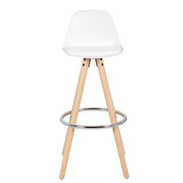 WOLTU® BH45ws-2 2 x Barhocker 2er Set Barstuhl aus Kunststoff Holzgestell mit Lehne + Fußstütze Design Stuhl Küchenstuhl optimal Komfort Weiss - 5