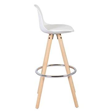 WOLTU® BH45ws-2 2 x Barhocker 2er Set Barstuhl aus Kunststoff Holzgestell mit Lehne + Fußstütze Design Stuhl Küchenstuhl optimal Komfort Weiss - 6
