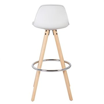 WOLTU® BH45ws-2 2 x Barhocker 2er Set Barstuhl aus Kunststoff Holzgestell mit Lehne + Fußstütze Design Stuhl Küchenstuhl optimal Komfort Weiss - 7