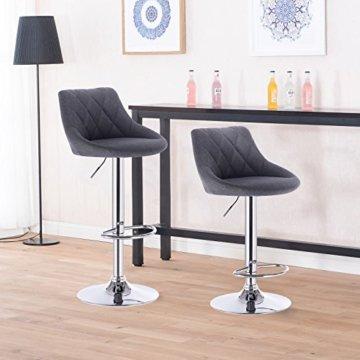 WOLTU BH69dgr-2 Barhocker Tresenhocker, gut gepolsterte Sitzfläche aus Leinen, Höhenverstellbar, Drehbar, 2 x Hocker, Dunkelgrau - 2