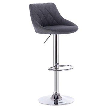 WOLTU BH69dgr-2 Barhocker Tresenhocker, gut gepolsterte Sitzfläche aus Leinen, Höhenverstellbar, Drehbar, 2 x Hocker, Dunkelgrau - 4