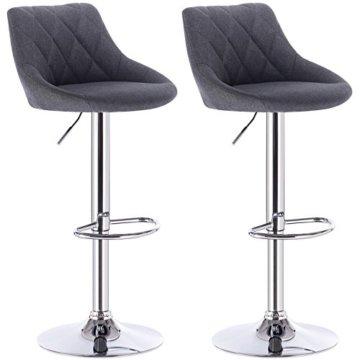 WOLTU BH69dgr-2 Barhocker Tresenhocker, gut gepolsterte Sitzfläche aus Leinen, Höhenverstellbar, Drehbar, 2 x Hocker, Dunkelgrau - 1