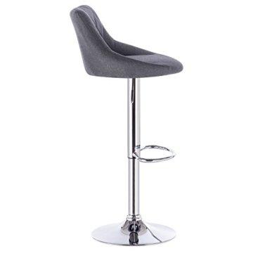 WOLTU BH69dgr-2 Barhocker Tresenhocker, gut gepolsterte Sitzfläche aus Leinen, Höhenverstellbar, Drehbar, 2 x Hocker, Dunkelgrau - 5