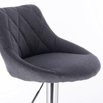 WOLTU BH69dgr-2 Barhocker Tresenhocker, gut gepolsterte Sitzfläche aus Leinen, Höhenverstellbar, Drehbar, 2 x Hocker, Dunkelgrau - 6