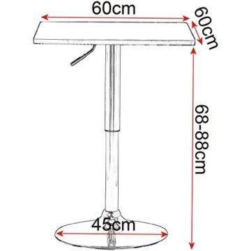 WOLTU BT03ws Bartisch Bistrotisch, Partytisch, Design Tisch mit Trompetenfuß, drehbare Tischplatte aus Robustem MDF, höhenverstellbar, Dekor, Weiß - 3