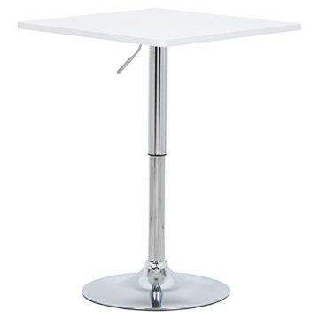 WOLTU BT03ws Bartisch Bistrotisch, Partytisch, Design Tisch mit Trompetenfuß, drehbare Tischplatte aus Robustem MDF, höhenverstellbar, Dekor, Weiß - 1