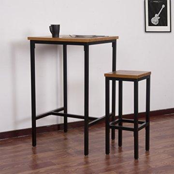 WOLTU BT12hei 1x Bartisch Bistrotisch Stehtisch Esstisch, Metallgestell, Tischplatte aus Massivholz, Eiche, 66x66x110cm(BxTxH) - 2