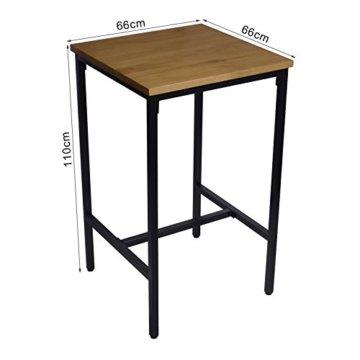 WOLTU BT12hei 1x Bartisch Bistrotisch Stehtisch Esstisch, Metallgestell, Tischplatte aus Massivholz, Eiche, 66x66x110cm(BxTxH) - 3