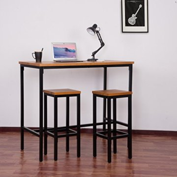WOLTU BT13hei 1x Bartisch Bistrotisch Stehtisch Esstisch, Metallgestell, Tischplatte aus Massivholz, Eiche, 120x66x110cm(BxTxH) - 2