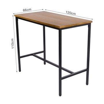 WOLTU BT13hei 1x Bartisch Bistrotisch Stehtisch Esstisch, Metallgestell, Tischplatte aus Massivholz, Eiche, 120x66x110cm(BxTxH) - 3