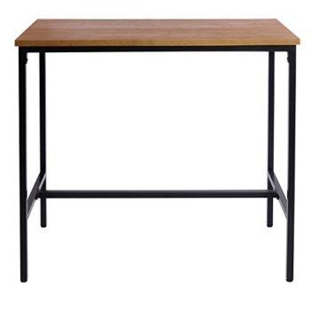 WOLTU BT13hei 1x Bartisch Bistrotisch Stehtisch Esstisch, Metallgestell, Tischplatte aus Massivholz, Eiche, 120x66x110cm(BxTxH) - 4