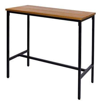 WOLTU BT13hei 1x Bartisch Bistrotisch Stehtisch Esstisch, Metallgestell, Tischplatte aus Massivholz, Eiche, 120x66x110cm(BxTxH) - 1