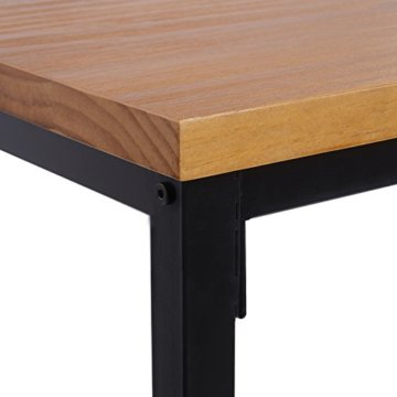 WOLTU BT13hei 1x Bartisch Bistrotisch Stehtisch Esstisch, Metallgestell, Tischplatte aus Massivholz, Eiche, 120x66x110cm(BxTxH) - 6