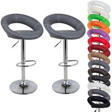 WOLTU Design 2 x Barhocker Tresenhocker mit Griff , 2er Set , stufenlose Höhenverstellung , verchromter Stahl , Antirutschgummi , pflegeleichter Kunstleder , gut gepolsterte Sitzfläche , Farbwahl (9198 Grau) - 2