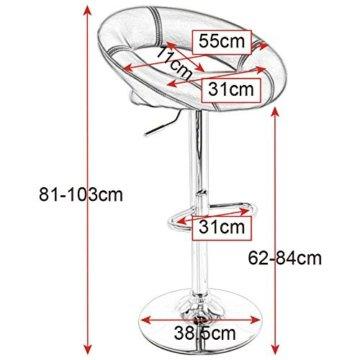 WOLTU Design 2 x Barhocker Tresenhocker mit Griff , 2er Set , stufenlose Höhenverstellung , verchromter Stahl , Antirutschgummi , pflegeleichter Kunstleder , gut gepolsterte Sitzfläche , Farbwahl (9198 Grau) - 3