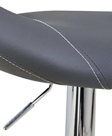 WOLTU Design 2 x Barhocker Tresenhocker mit Griff , 2er Set , stufenlose Höhenverstellung , verchromter Stahl , Antirutschgummi , pflegeleichter Kunstleder , gut gepolsterte Sitzfläche , Farbwahl (9198 Grau) - 4