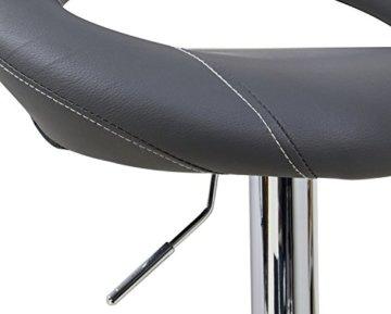 WOLTU Design 2 x Barhocker Tresenhocker mit Griff , 2er Set , stufenlose Höhenverstellung , verchromter Stahl , Antirutschgummi , pflegeleichter Kunstleder , gut gepolsterte Sitzfläche , Farbwahl (9198 Grau) - 5
