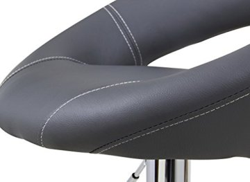 WOLTU Design 2 x Barhocker Tresenhocker mit Griff , 2er Set , stufenlose Höhenverstellung , verchromter Stahl , Antirutschgummi , pflegeleichter Kunstleder , gut gepolsterte Sitzfläche , Farbwahl (9198 Grau) - 6